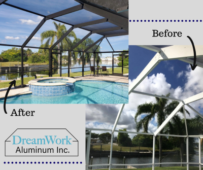 "<img src=""beforeandafterphoto.jpg"" alt=""rebuild pool cage enclosure before and after photo"">"